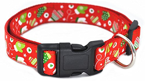 Image of Moonpet Christmas Day Premium Nylon Dog Collar and Leash Lead Set - Adjustable Nylon Dog Collar and 4ft Leash - Best for Small Medium Large Dogs - Red Glove,S