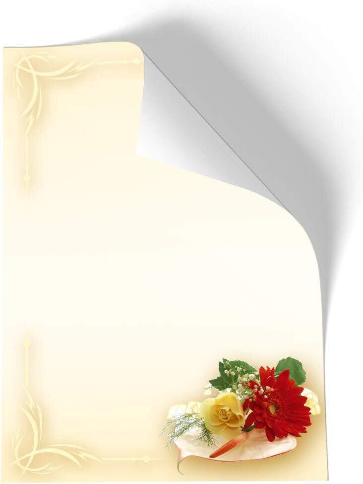 20 Blatt Briefpapier Blumen /& Bl/üten Liebe /& Hochzeit BLUMENBUKETT Paper-Media DIN A4 Format
