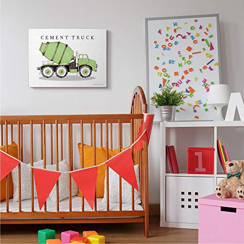 Stupell Industries Green Cement Truck Mixer Classic Construction Vehicle, Designed by Stephanie Workman Marrott Canvas Wall Art, 24 x 30, Off-White