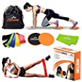 Mercitons Fitness Equipment Workout Core Sliders   with 5 Level Resistance Bands/Workout Bands for Legs and Butt   Workout Equipment for Women (+2 Free Bonus Items)
