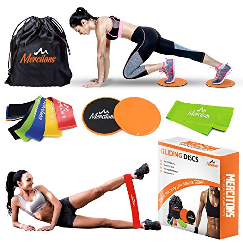 Dual Sided Gliding Discs Core Sliders Exercise with 6 Resistance Bands for Women - Home Full Body Workout - use it on Carpet & Hardwood Floors - Abdominal Exercises for Optimal Fitness and Health