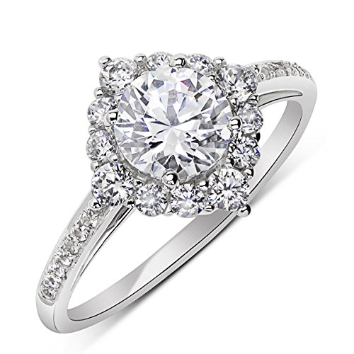 14K Rose Gold or White Gold 1.2 cttw Round CZ Solitaire Halo Ring, 10 by Double Accent Wedding Collection