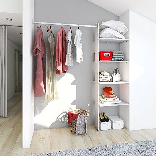 PLAYCON Closet armable Organizador Elemental 4 entrepaños Ancho máximo de 183 cm (Blanco)