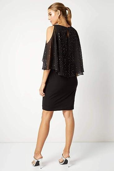 Und Roman Glitzerdetails Damen Kleid Überlage Mit Originals Chiffon QxBedoWrC