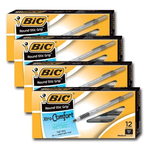 Bic Ultra Round Stic Grip Ball Point Pens, Medium Point, 1.2 mm, Black Ink (48 Pens)