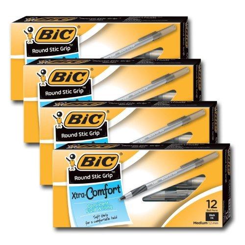 Bic Ultra Round Stic Grip Ball Point Pens, Medium Point, 1.2 mm, Black Ink (48 - 48 Ink Black