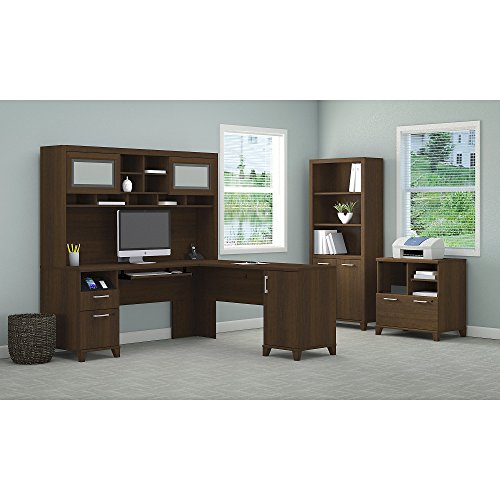 Bush Furniture Achieve L Shaped Desk with Hutch, Bookcase and Printer Stand File Cabinet - Office Set Printer Stand