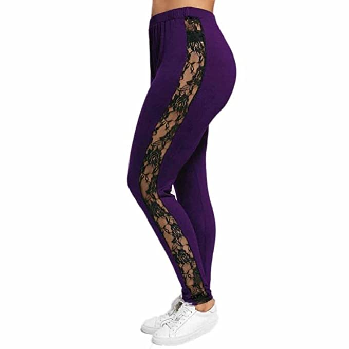 Pantalones Yoga Mujeres, Xinantime Leggings elásticos de Mujer Talla Grande Pantalones Deportivos Block Mesh Splicing