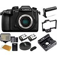 Panasonic GH5 Lumix 4K Mirrorless, Wi-Fi + BT,3.2 LCD 64GB Video Cage Bundle (SmallRig Cage, Top Handle, LED)