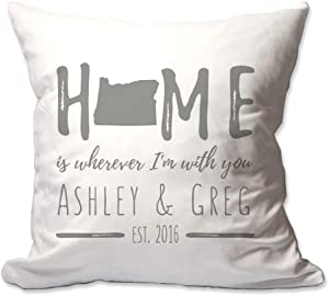 Pattern Pop Personalized Oregon Home is Wherever I'm with You Throw Pillow Cover - 17 X 17 Throw Pillow Cover (NO Insert) - Decorative Throw Pillow Cover - Soft Polyester