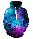 Unisex Realistic 3d Print Galaxy Pullover Hoodie Hooded Sweatshirt (Small/Medium, Interstellar)