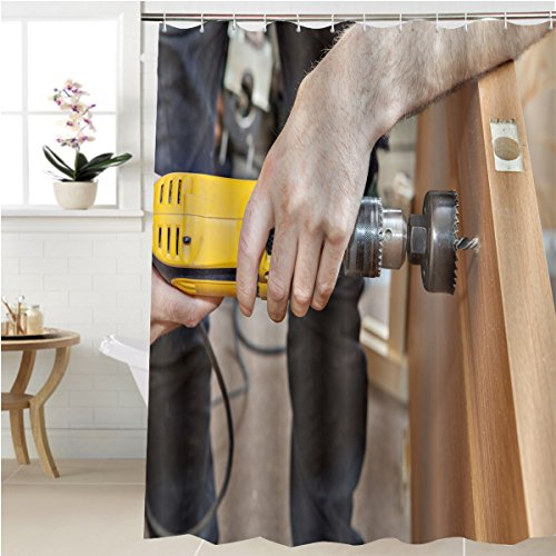 Gzhihine Shower curtain door installation hands carpenter holding yellow power drill with wood hole saw drill bit Bathroom Accessories 36 x 78 inches