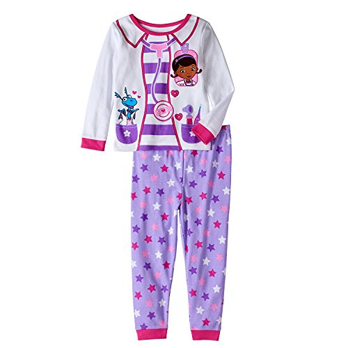 AME Sleepwear Disney Doc McStuffins Little Girls Toddler Long Sleeve Cotton Pajama Set,White,2T -