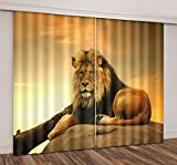 Cheap LB Teen Kids Animals Decor Room Darkening Thermal Insulated Blackout Curtains,Lying Lion 3D Window Curtains Drapes for Living Room Bedroom 2 Panels Set,42 x 84 Inches