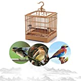Square Bird Cage Bird Carrier Breathable Retro Travel Parrot Bird Cage with Feeding Accessories
