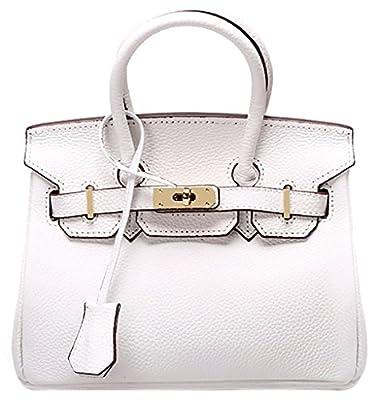 QZUnique Women's Cowhide Genuine Leather Zipper Buckle Belt Metalic Bag
