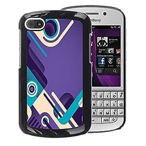 A-type Arte & diseño plástico duro Fundas Cover Cubre Hard Case Cover para BlackBerry Q10 (Purple Teal Abstract Design Shoes Loop)