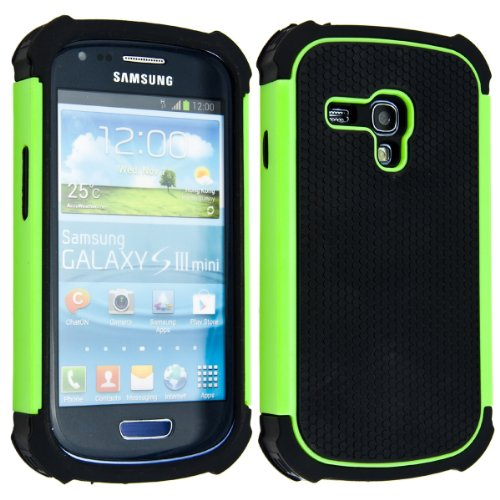 kwmobile Hybrid Case for Samsung Galaxy S3 Mini in green black. TPU Inner-case, Hardcase shield! Perfect for outdoor usage of your smartphone and topmodern (Cases Mini S3)