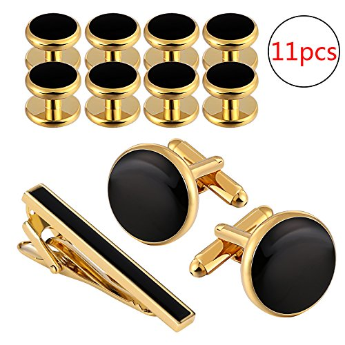 Aeici Black Gold Classic Cufflinks and Studs Set for Men Tuxedo Shirts Tie Clip Business Wedding (Classic Cufflinks Black)
