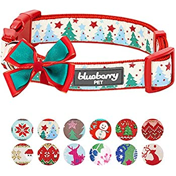 Blueberry Pet 4 Patterns Christmas Moments of Fantasy Embrace Nature Designer Adjustable Bowtie Dog Collar, Large, Neck 18