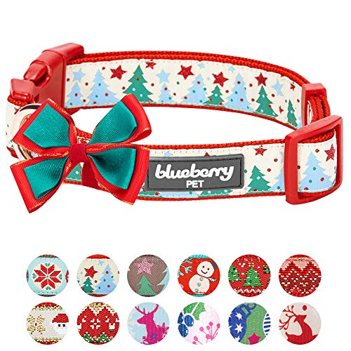 Blueberry Pet 4 Patterns Christmas Moments of Fantasy Embrace Nature Designer Adjustable Bowtie Dog Collar, Small, Neck 12