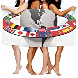 Haixia Absorbent Bath Towel World Earth Planet with Orbit Made from National Flags International Composition Countries Decorative