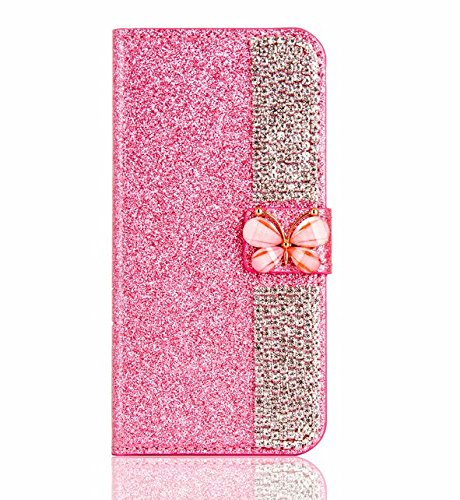 Price comparison product image Superstart Pink iPhone 6 Plus / 6s Plus 3D Handmade Beauty Butterfly Rhinestone Diamond Case for iPhone 6 Plus / 6s Plus Bling PU Leather Flip Stand Credit Card Wallet Cover