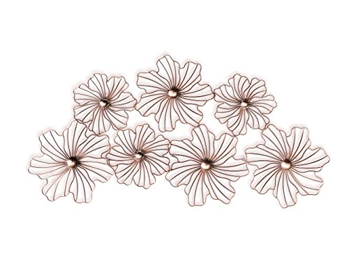 Floral Wall Hanging - Mid Century Wall Decor, Lotus Flower Design Wall Art Sculpture in Rose Gold Finish Jere Wall