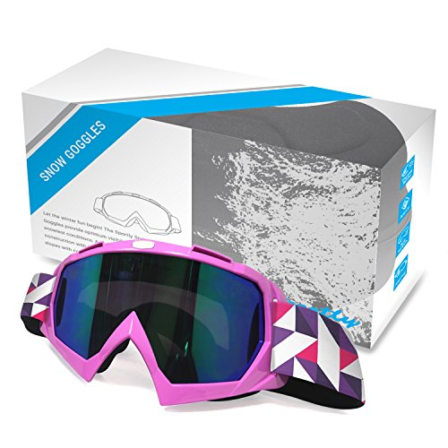 Sportly Snow and Ski Goggles – Adult Snow Sports Goggle, Anti-Fog and Anti-Scratch Mirrored Lenses, Blocks Wind and Harmful UV Rays, Comfortable Fitting Foam Lined Seal, Cold Weather Eye Protection