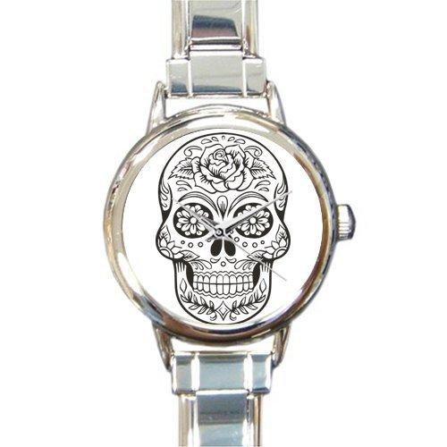 (Personalized Watch Sugar Skull Round Italian Charm stainless steel Watch)