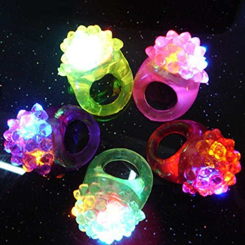Novelty 96 ct Flashing LED Bumpy Rings Blinking Soft Jelly Glow By C&H