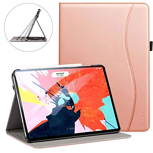 Ztotop for iPad Pro 12.9 Case 2018, Premium Leather Slim Stand Cover Folio Case for 2018 iPad Pro 12.9-inch 3rd Generation (Latest Model) with Auto Sleep/Wake, Pencil Strap Holder - Rose Gold