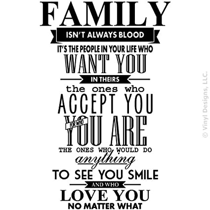 Big Family Isn\'t Always Blood Quote Vinyl Wall Art Decal Sticker, Removable  Home Decor, Black, 29\