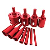 Meccion Diamond Drill Bit Kit Brazing Core Hole Saw Set Extractor Remover Tools Hole Saws For Glass, Ceramics, Porcelain, Ceramic Tile,Stone Mandrels Saws 6/25 inch - 2 inch (6mm - 50mm) 11 Packs