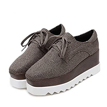GTVERNH Platform Shoes Female Spring England Thick Bottom Wedges Square All-Match Canvas Shoes New