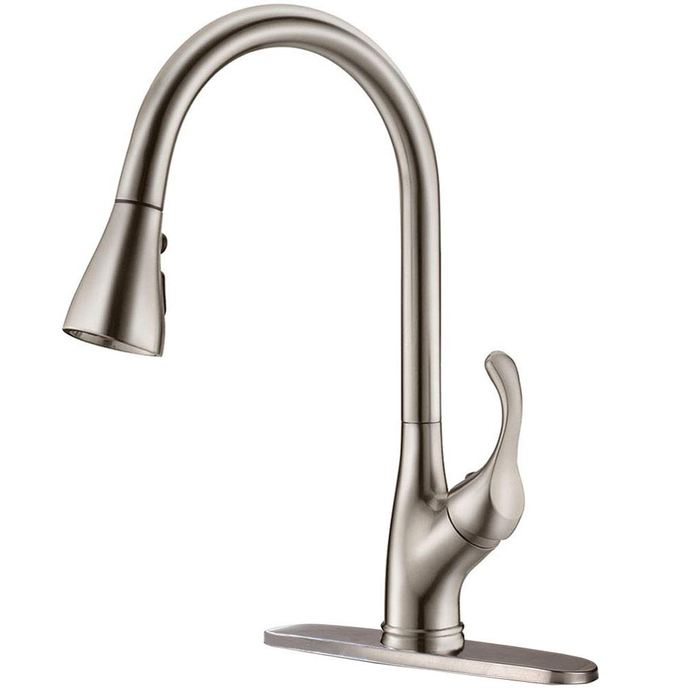 APPASO Pull Down Kitchen Faucet with Sprayer Stainless Steel Brushed Nickel – Single Handle Commercial High Arc Pull Out Spray Head Kitchen Sink Faucets with Deck Plate