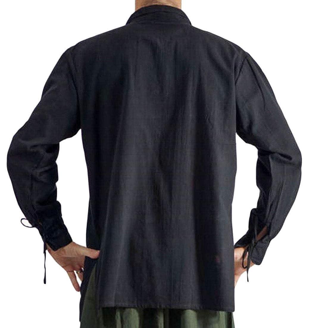 Gocgt Men Hip Hop Muscle Lace Up V Neck Tops Shirts T-Shirt