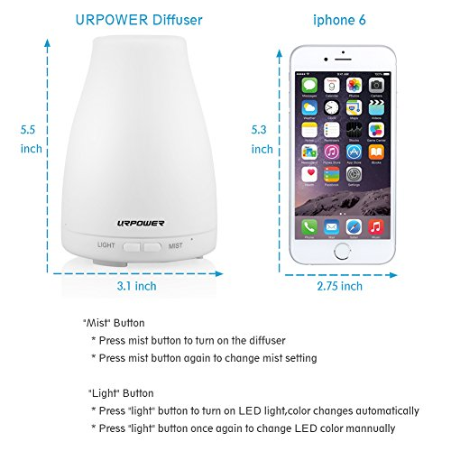 Large Product Image of URPOWER 2nd Version Essential Oil Diffuser Aroma Essential Oil Cool Mist Humidifier with Adjustable Mist Mode,Waterless Auto Shut-off and 7 Color LED Lights Changing for Home Office Baby