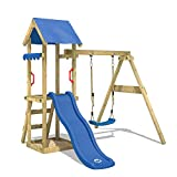 WICKEY Climbing Frame TinyWave Playhouse with Slide, Swing and Sand Pit, Blue Slide + Blue tarp