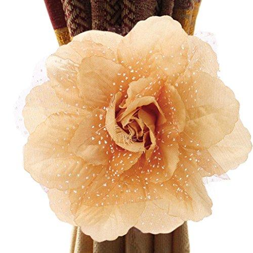 (Rose flower Curtain tieback(17×3CM),Tuscom (Peony/Champagne))