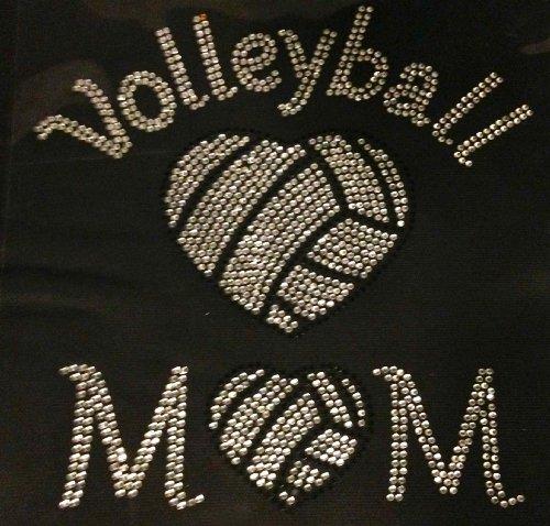Volleyball Mom Heart Shape ball Rhinestone Transfer Iron (Volleyball Mom Rhinestone)