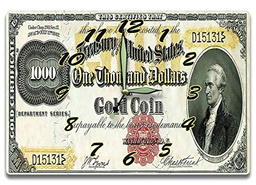 Customized Alexander Hamilton Money Clock US Treasury Gold Coin Certificate Series 1882 1,000 Dollar Bill 8 x 12 inch clock American Financial System