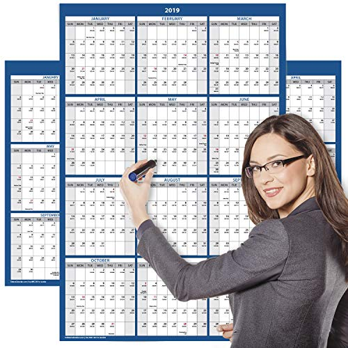 Delane 2019 Yearly Wet and Dry Erase Wall Calendar, 24 x 36 Inches, 2-Sided Reversible Vertical/Horizontal (AWC-001) (Navy -
