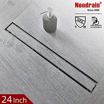 Neodrain 24,28,32,36 Inch Side Outlet Linear Shower Drain Brushed 308 Stainless Steel Rectangle Shower Floor Drain,Floor Shower Drain With Adjustable Leveling Feet,Hair Strainer