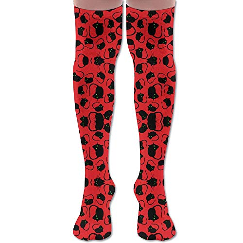 DFAUHAL Halloween Spooky Black Rats Green Eyes Red Backgro Knee High Graduated Compression Socks for Unisex - Best Medical, Nursing, Travel & Flight Socks - Running & Fitness -