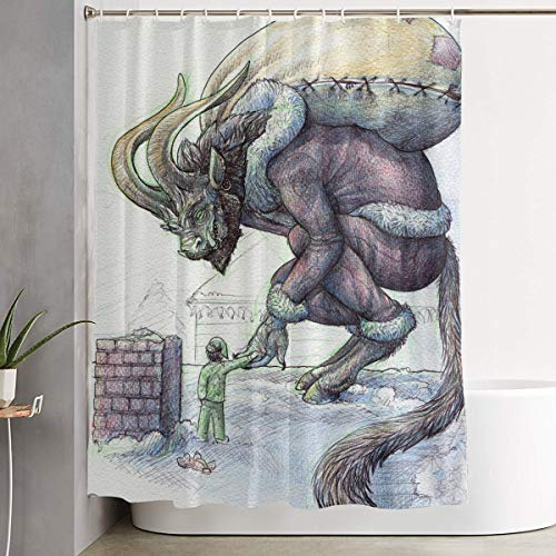 Christmas Costume Krampus Kids Bathroom Shower Curtain Decorative Toilet Celebrate Ornament Picks Set Prints Themed All Supplies Accessories Sale Indoor Home -