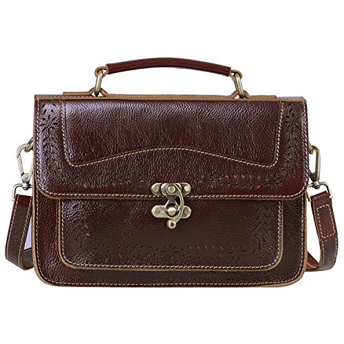 - JACK&CHRIS Small Tote Leather Handbags Satchel Purse Vintage Messenger Bag for Women, WBZP036