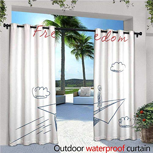 cobeDecor Adventure Outdoor Blackout Curtains Flying Paper Plane in Hand Drawn Sketch Cartoon Style Freedom Text Clouds Outdoor Privacy Porch Curtains W120 x L96 Bluegrey Red White