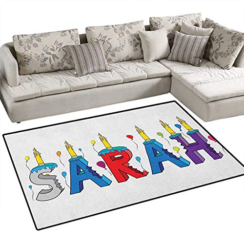(Sarah,Carpet,Celebratory Festive Birthday Girl Name Lettering with Colorful Letters and Balloons,Area Silky Smooth Rugs,Multicolor)