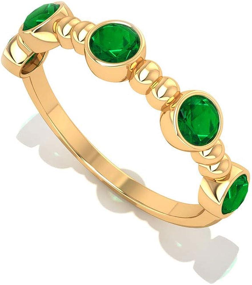 Alianza de boda de esmeralda con certificado SGL, minimalista con cuentas, anillo de compromiso de oro con piedra de nacimiento de mayo, 14K Oro amarillo, Size:EU 57
